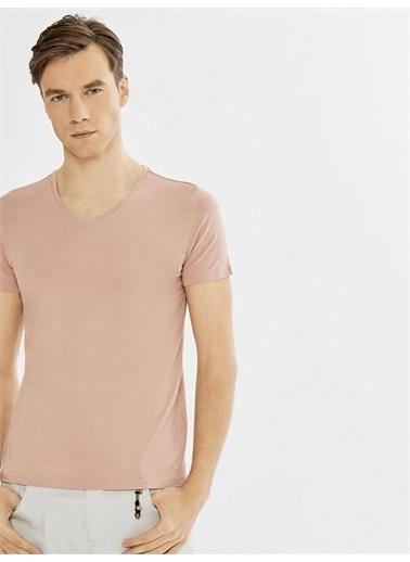 Xint XINT V Yaka Modal Basic Tişört Bordo